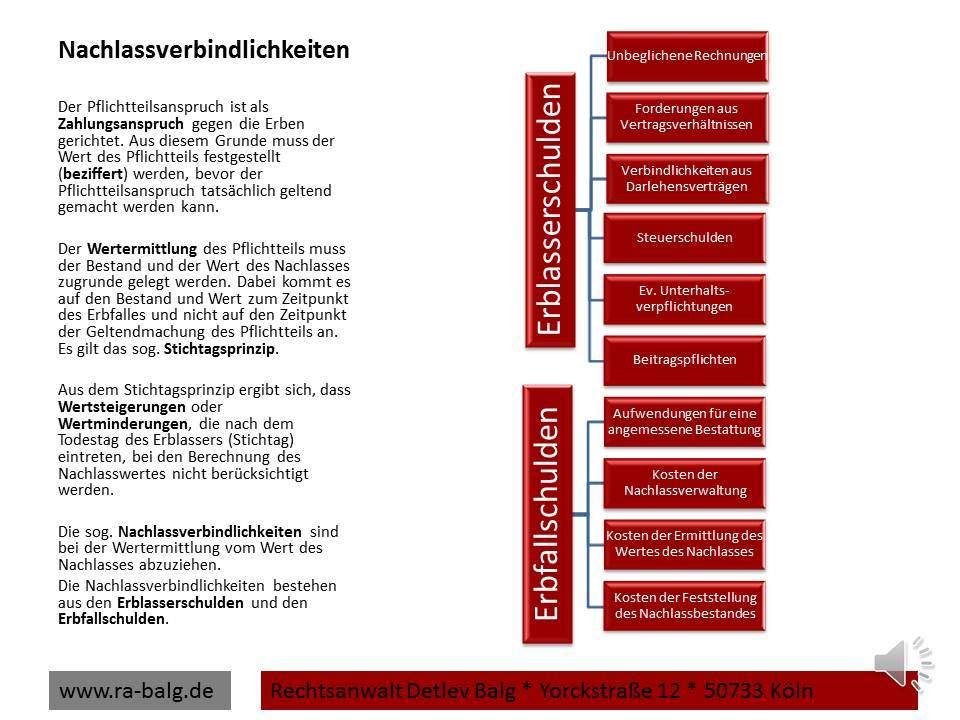 Erbrecht-Pflichtteil-Nachlassverbindlichkeiten | Fachanwalt für Erbrecht Detlev Balg * Köln