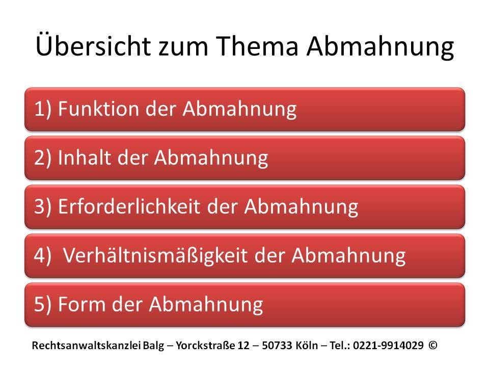Arbeitsrecht: Abmahnung und Kündigung | Funktion und Voraussetzungen einer wirksamen arbeitsrechtlichen Abmahnung | Arbeitsrecht Anwalt Köln