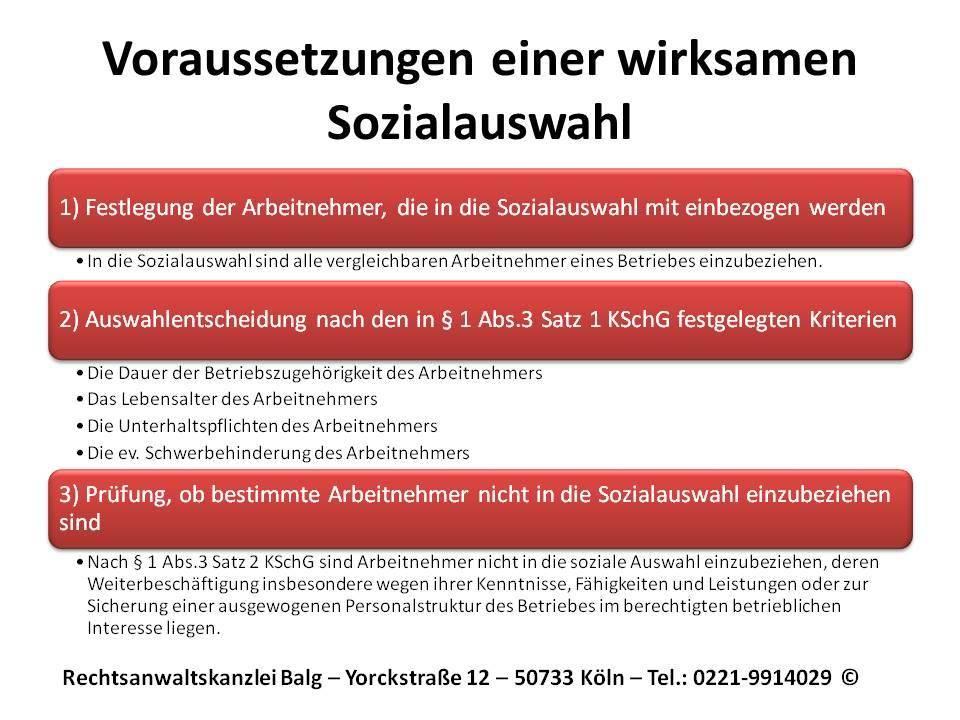 Arbeitsrecht: Die Betriebsbedingte Kündigung - Die Voraussetzungen einer wirksame Sozialauswahl | Anwalt Arbeitsrecht Köln
