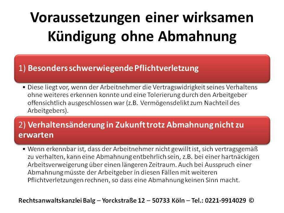Arbeitsrecht: Kündigung ohne Abmahnung - Voraussetzungen eine arbeitgeberseitigen Kündigung ohne vorherige Abmahnung | Anwalt Arbeitsrecht Köln - Kanzlei Balg