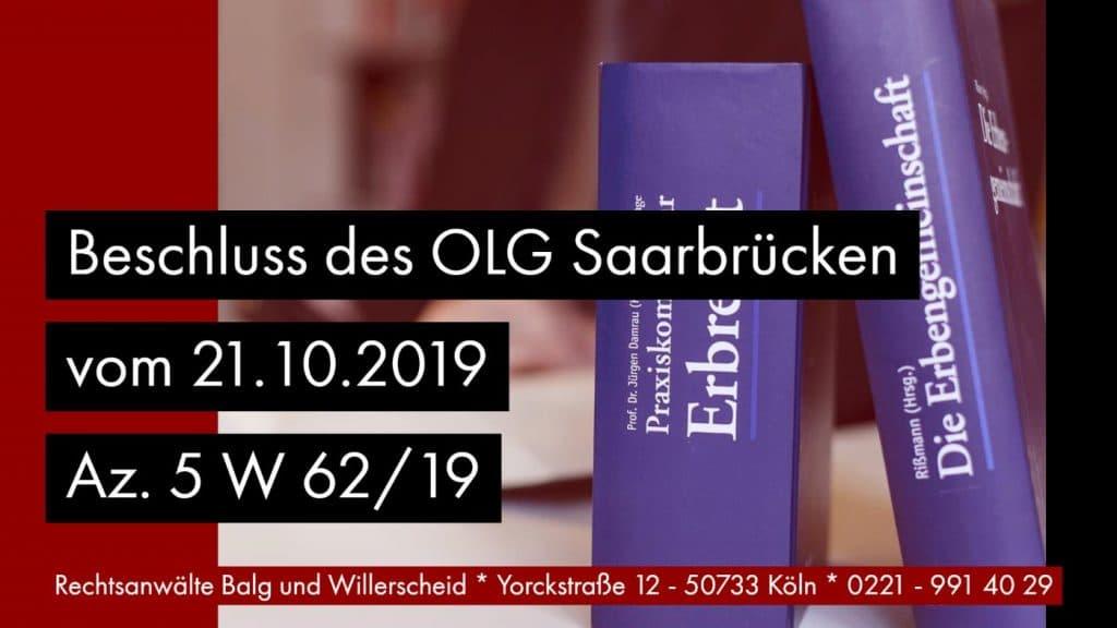 Erbvertrag Erbschein Grundbuch - OLG Saarbrücken Beschluss vom 21.10.2019 Az. 5 W 62_19 - Rechtsanwalt und Fachanwalt für Erbrecht Detlev Balg Köln