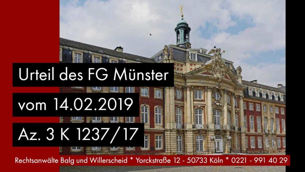 Schenkung Abfindung Steuerminderung - FG Münster Urteil vom 14.02.2019 Az. 3 K 1237/17 - Rechtsanwalt und Fachanwalt für Erbrecht Detlev Balg Köln