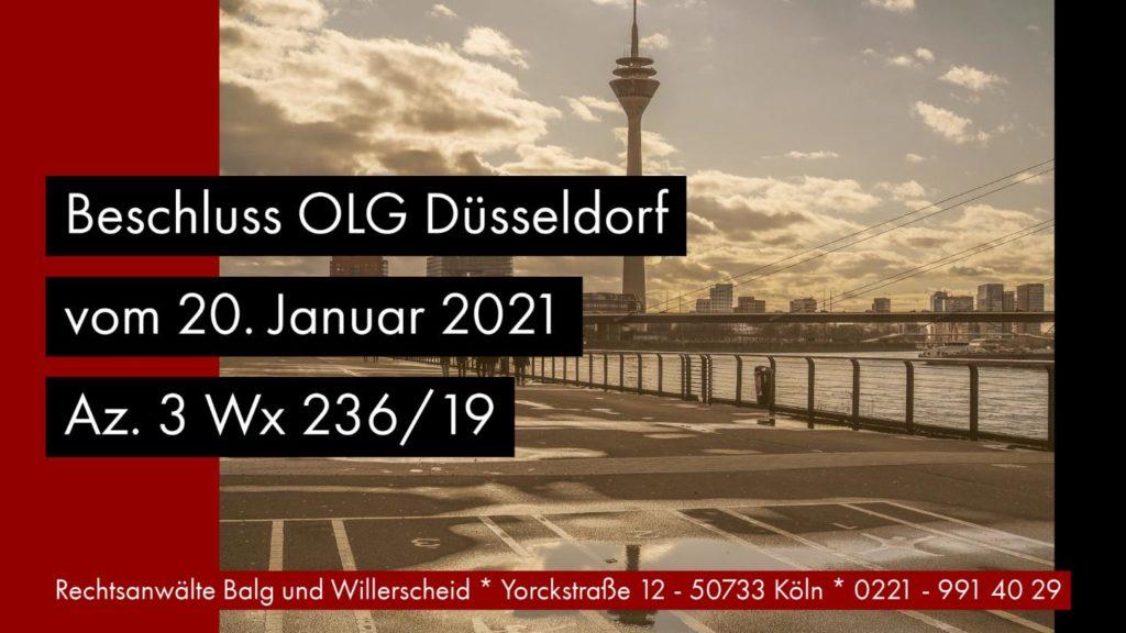 Nachlasspflegervergütung bei mangelhafter Amtsführung - OLG Düsseldorf 20.01.2021 - Az. 3 Wx 236/19 - Rechtsanwalt und Fachanwalt für Erbrecht Detlev Balg - Köln