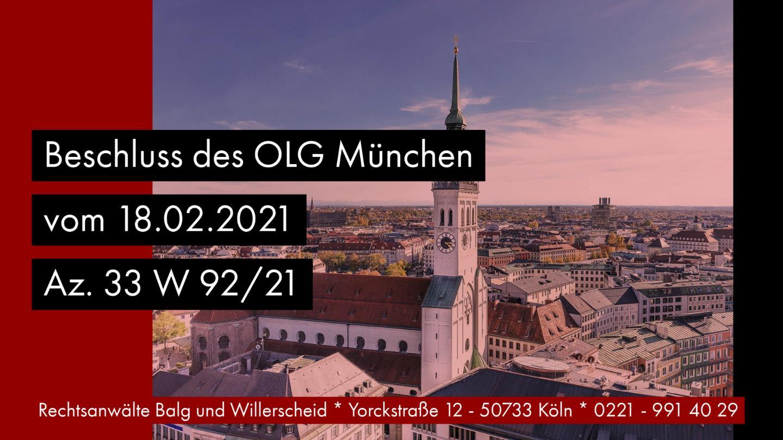 Verjährung von Grundstücksvermächtnissen - OLG München 18.02.2021 33 W 92-21 - Rechtsanwalt und Fachanwalt für Erbrecht Detlev Balg - Köln